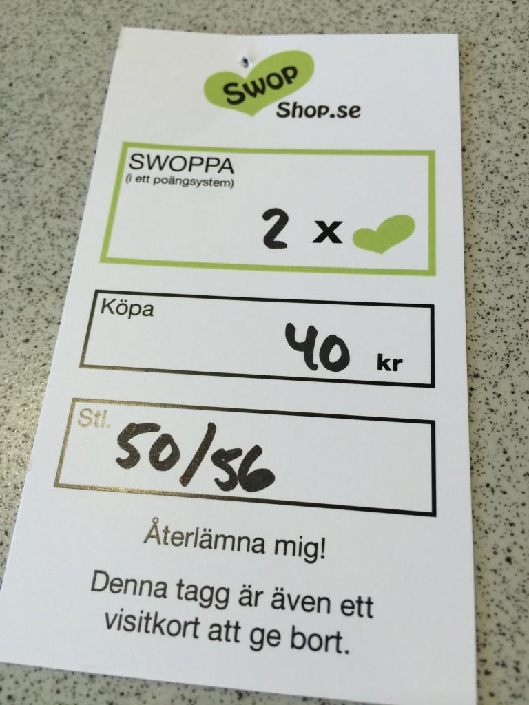 Så här ser prislappen ut i SwopShop!