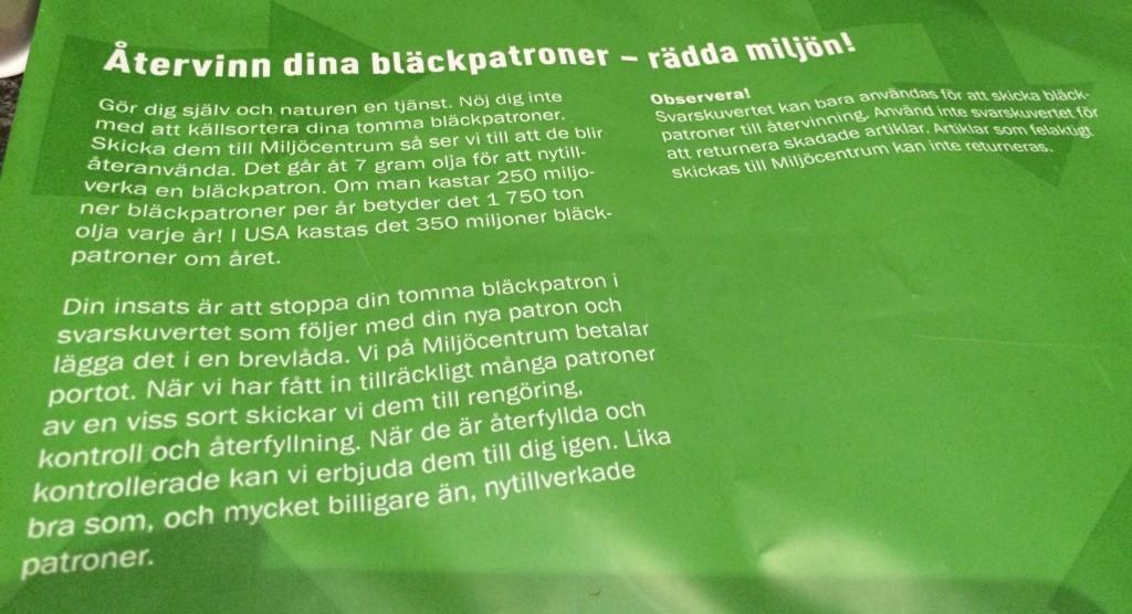 Information på baksidan av påsen.