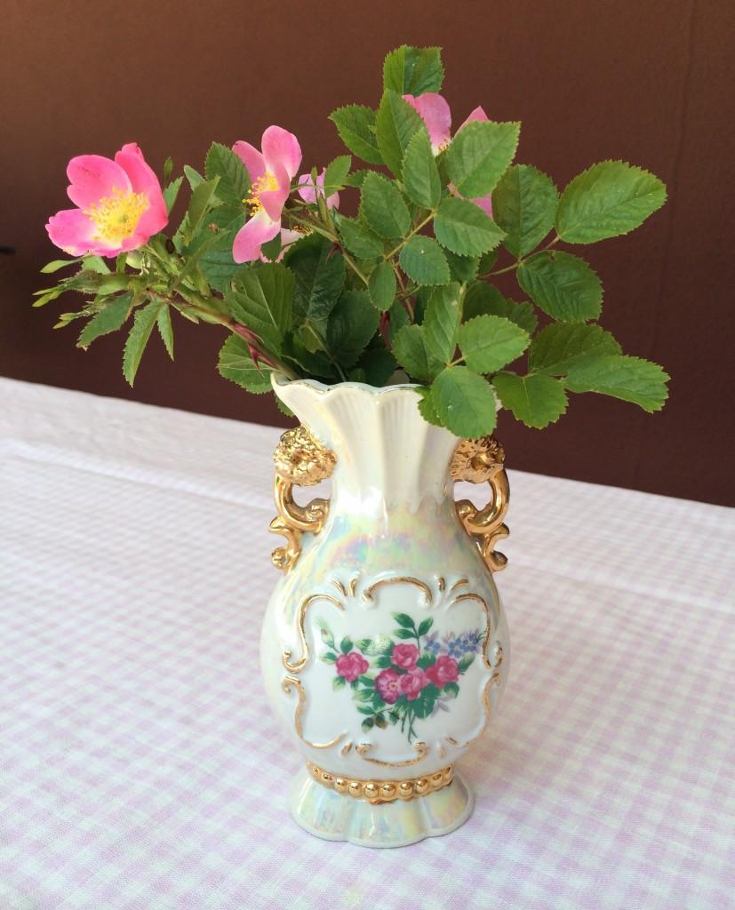 En söt vas fick följa med hem! Bara 10 kr! Jag har satt några nyponrosor i den.