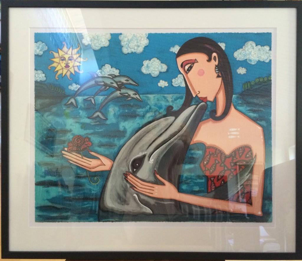 Litografi av Angelica Wiik. Den målades i välgörenhetssyfte för att bidra till att rädda delfinerna.